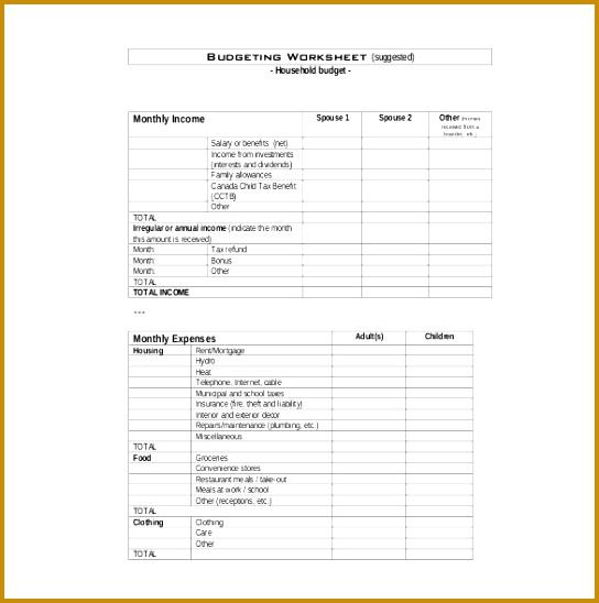 Sample Household Bud Worksheet 548544