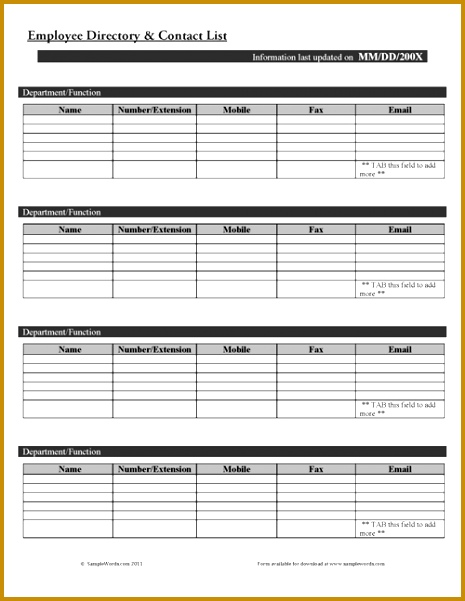 Employee Directory and Contact List Form 601465