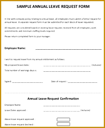 Sample Annual Leave Request Form 441362