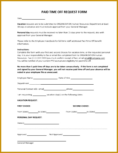 Paid Time f Request Form 501386