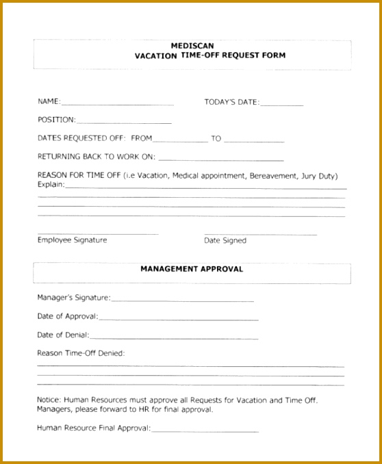Vacation Time f Request Form 678558