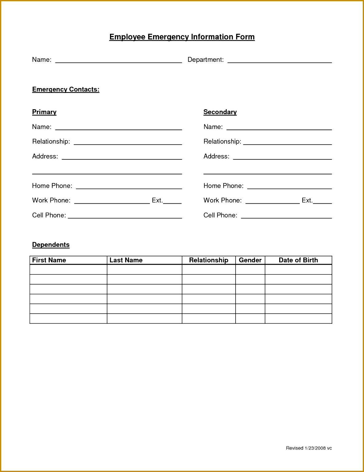 Employee Emergency Form 15341185