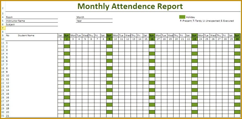 Attendance sheet for Employees1 454925