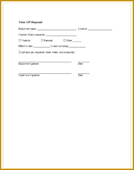 Employee Time Off Request Form Template  Fabtemplatez