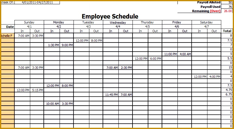4 Employee Vacation Schedule Template