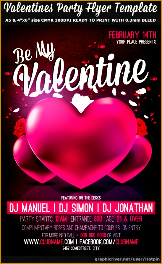 be my valentine party flyer template 892548