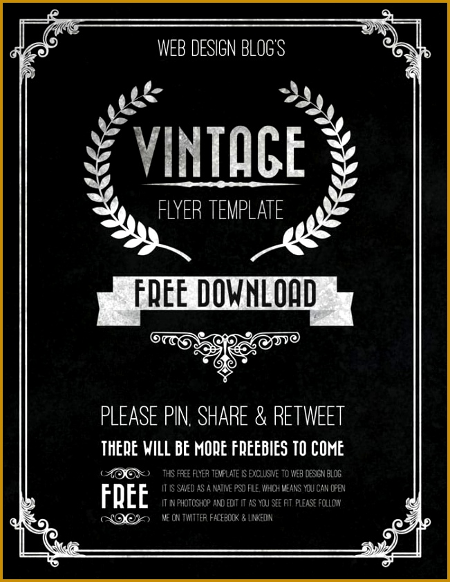 free vintage flyer template psd 842651