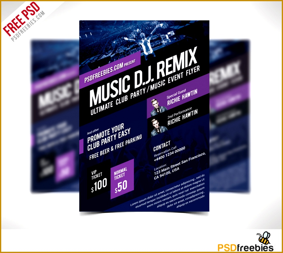 music event flyer template free psd 831930