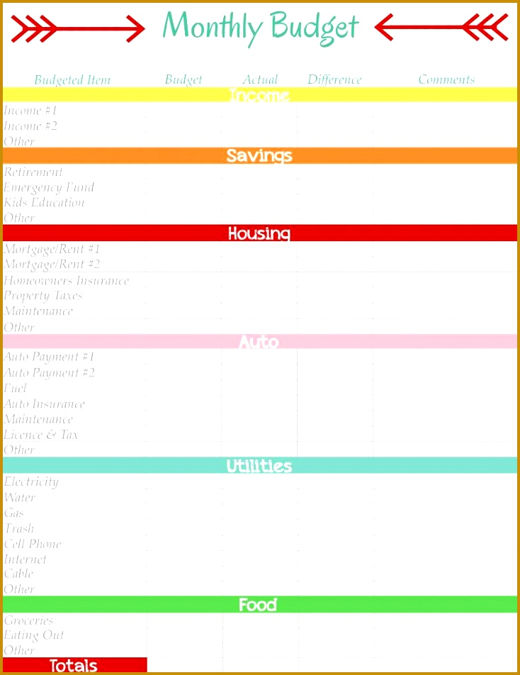 Printable bud worksheet Bud spreadsheet template Free bud planner monthly bud planner 952734