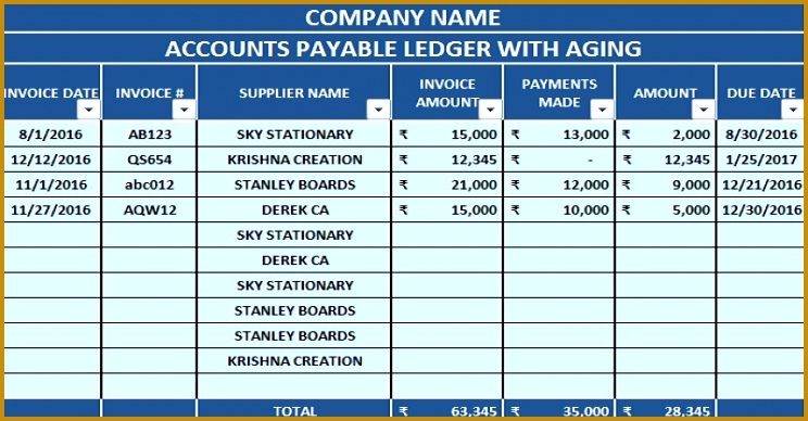 Download Accounts Payable With Aging Excel Template 744388