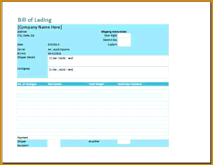 bill of lading template excel free Bill of lading 681527