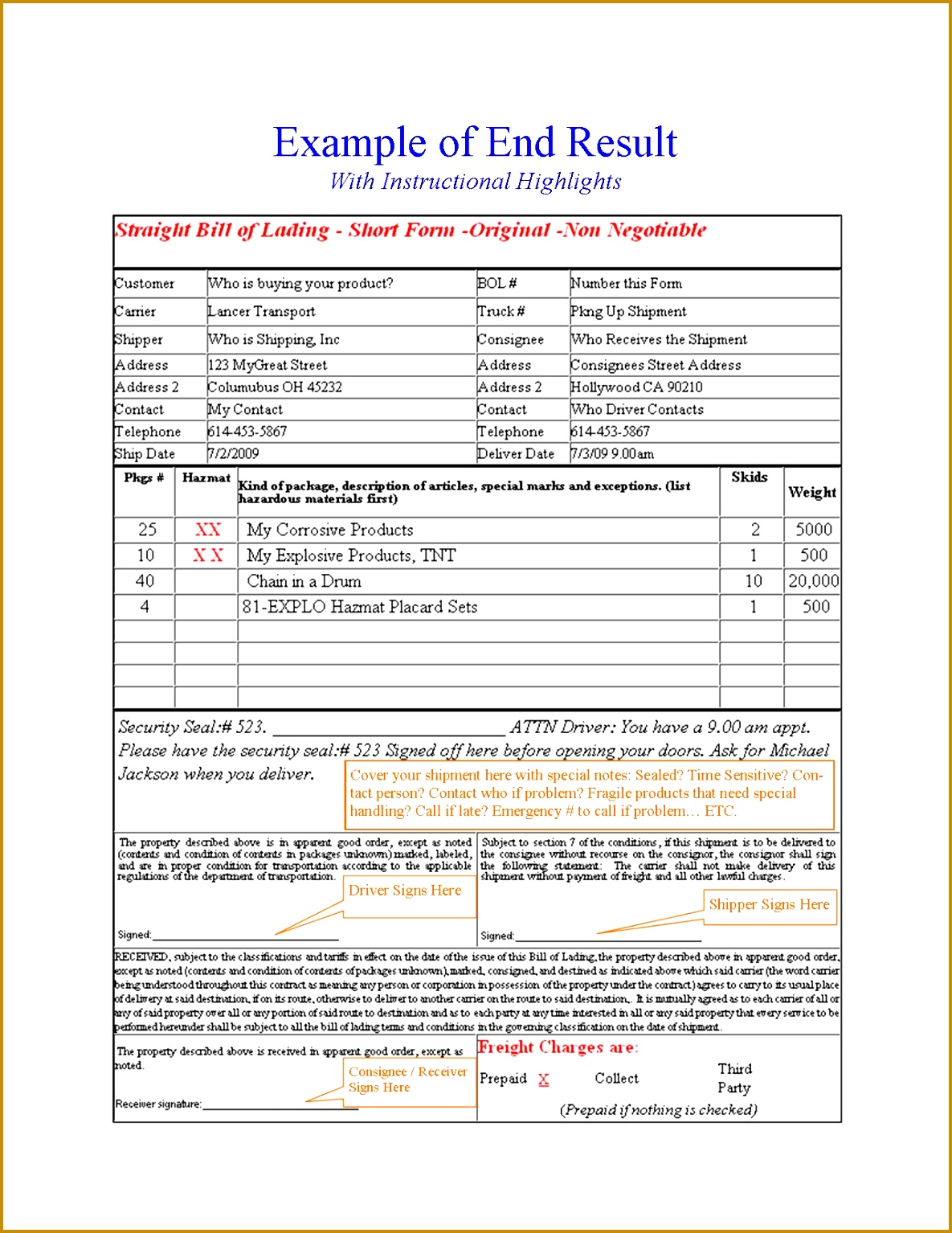 Example Bill of Lading Results 15341185