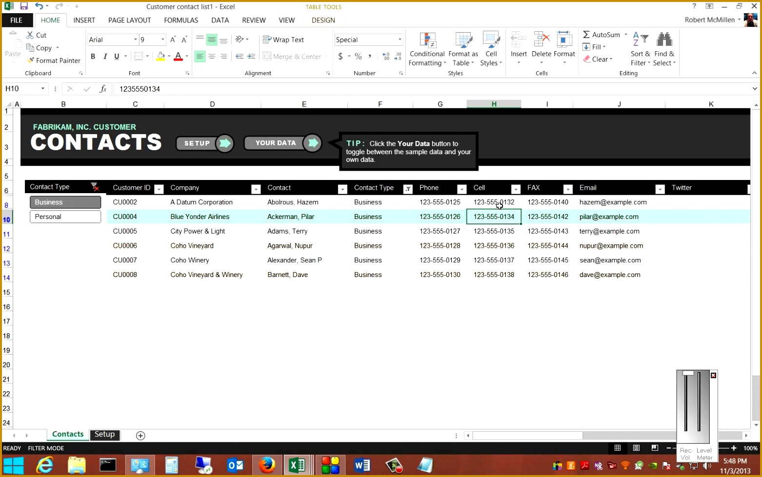 Review of the free Customer Contact Template in Microsoft Excel 2013 9781562