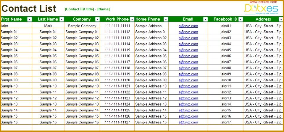 Basic contact list Excel List Templates Dotxes 448960
