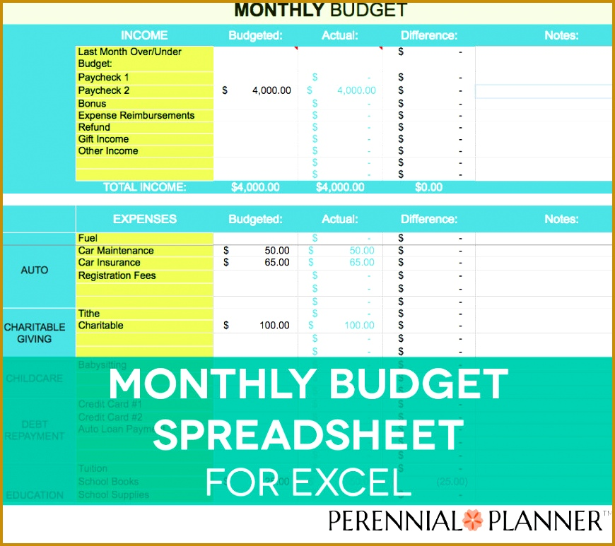 Monthly Bud Spreadsheet Household Money Tracker Microsoft Excel Template Home Finance Spending Calculator 773870