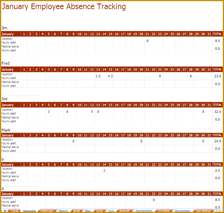 employee absence template 737775