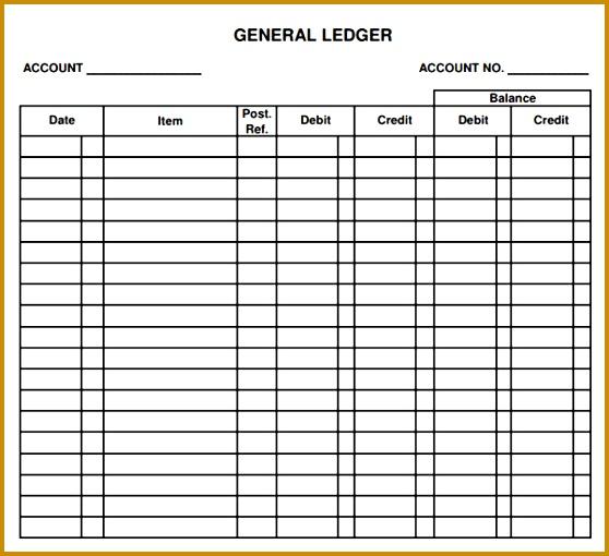 General Ledger Form General Journal Ledger Example Sample General 558510