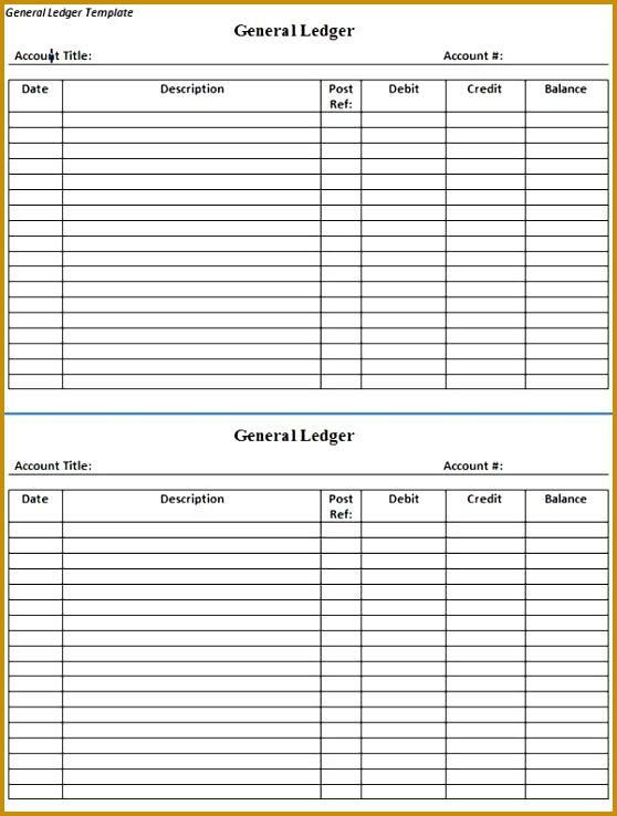 Ledger Paper Template General Ledger Template Business Accounts Ledger Templates 558738