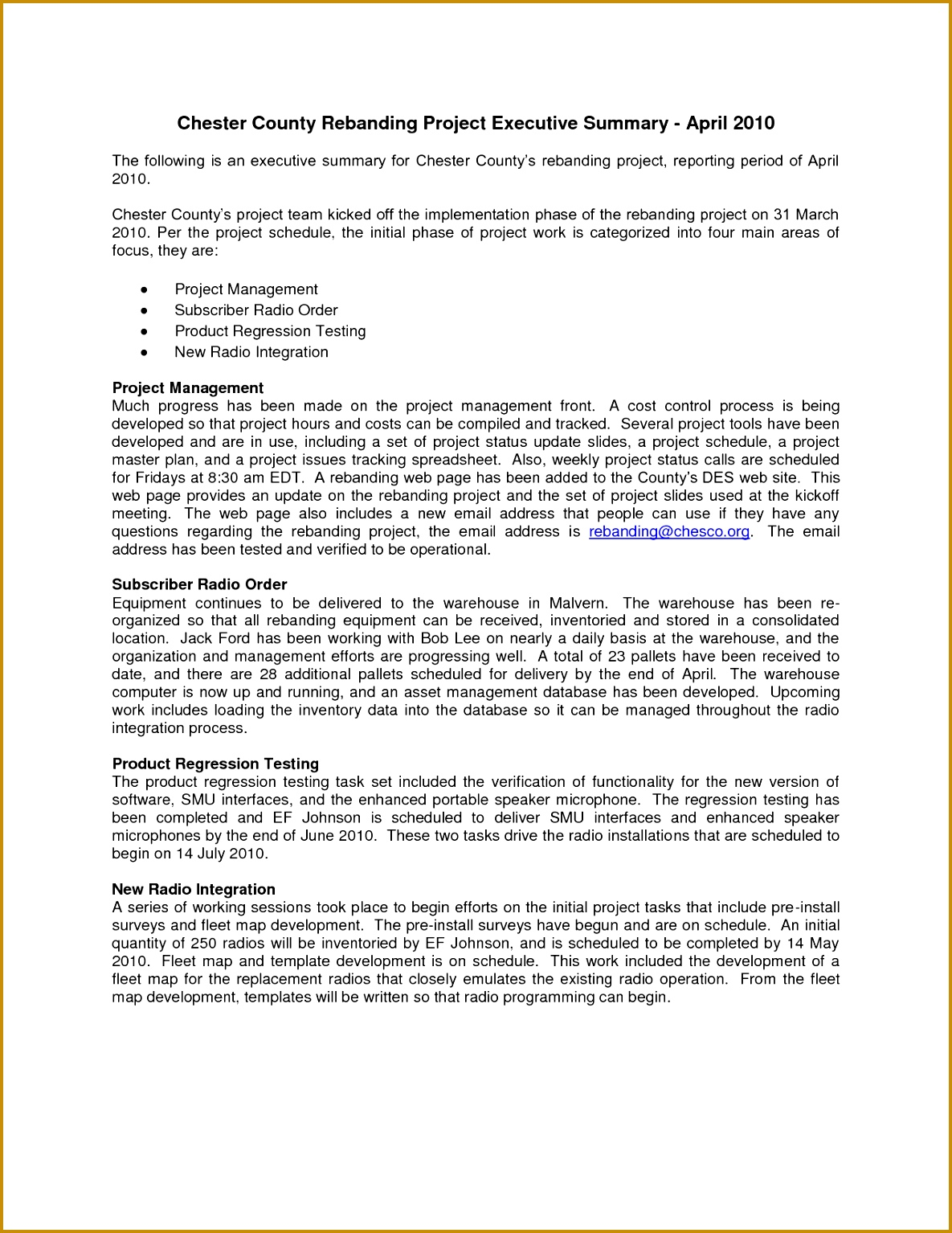 project management executive summary template 15341185