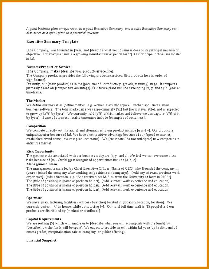8 executive summary template 890691