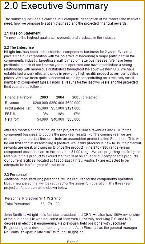 executive summary format free 783466