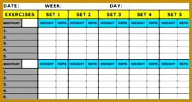 Workout Schedule Template for PDF 279149