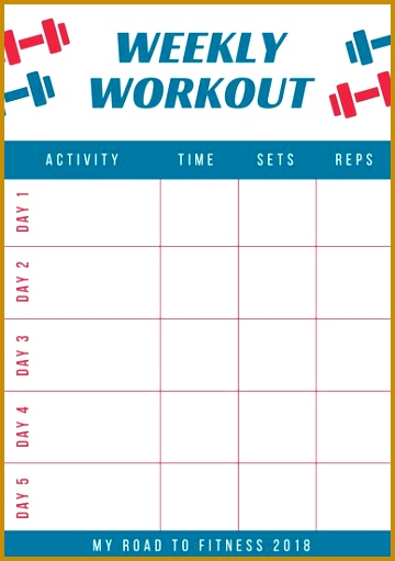 Red and Blue Workout Schedule Planner 511360