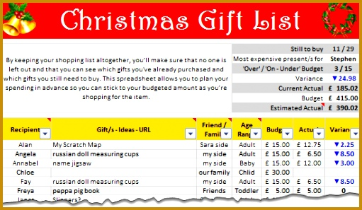 Christmas Gift Shopping List Template – Set bud track your ts using Excel 511297
