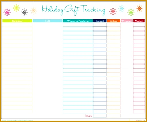 Holiday Gift List Template with regard to Christmas List Organizer 425511