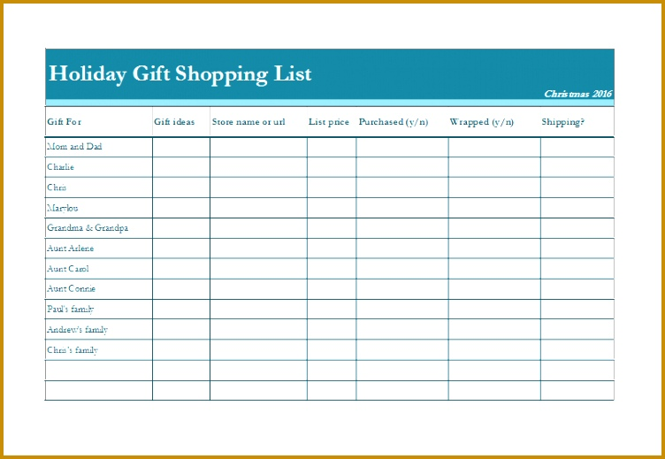 Holiday Gift Shopping List Fully Customizable Template 519752