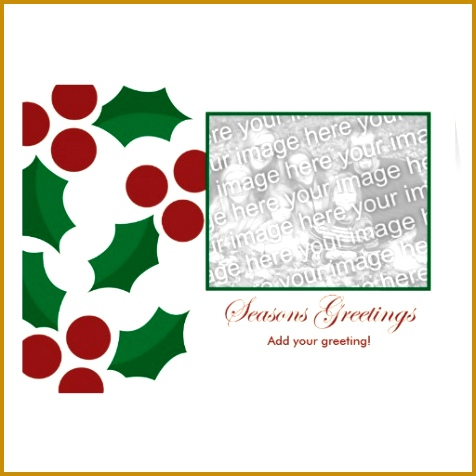 holly holiday template greeting card 476476