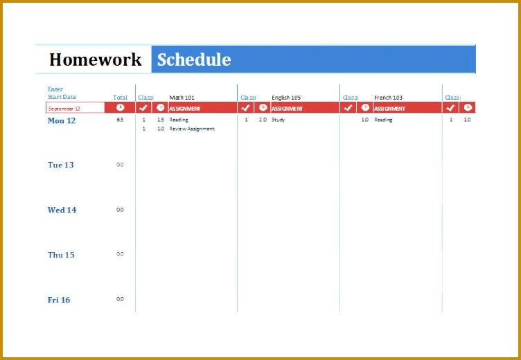 7 Homework Timetable Template
