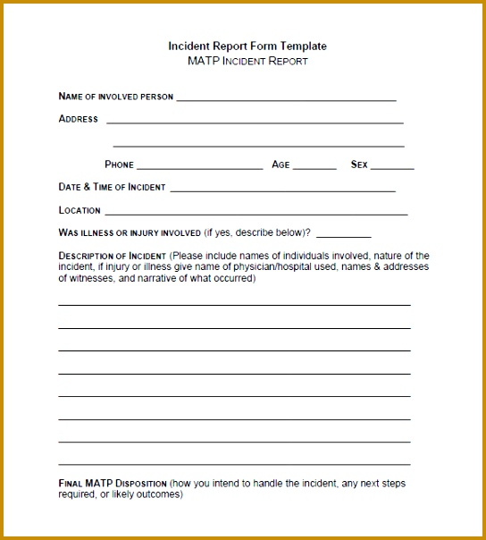 Incident Report Template 604544