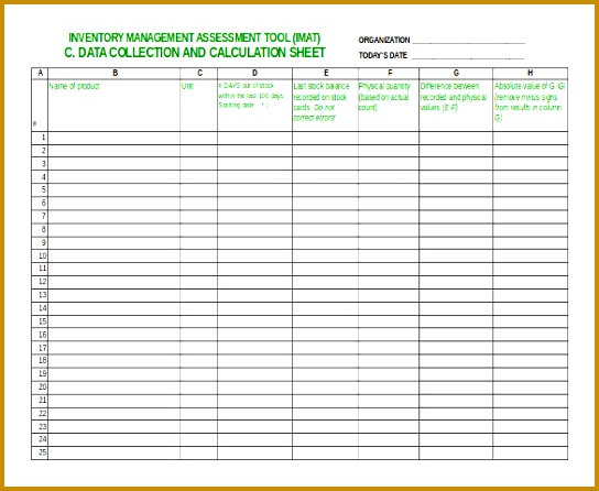 Inventory Management Assessment Tool Free Sheet 544446