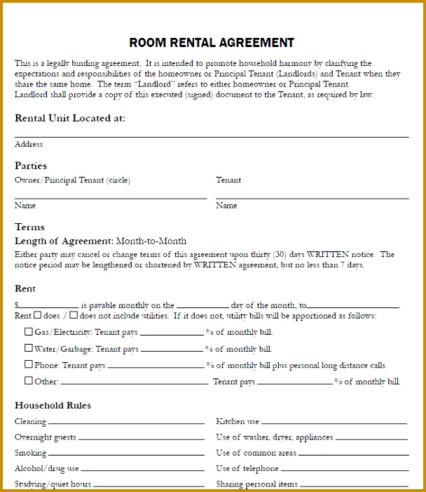 rental agreement for room 701608