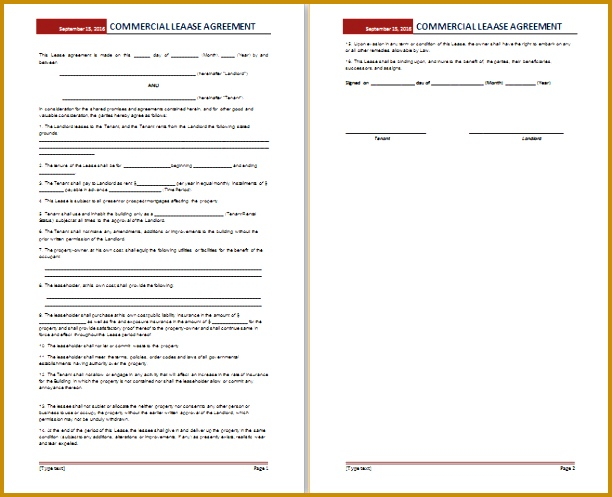 mercial lease agreement template free 497612