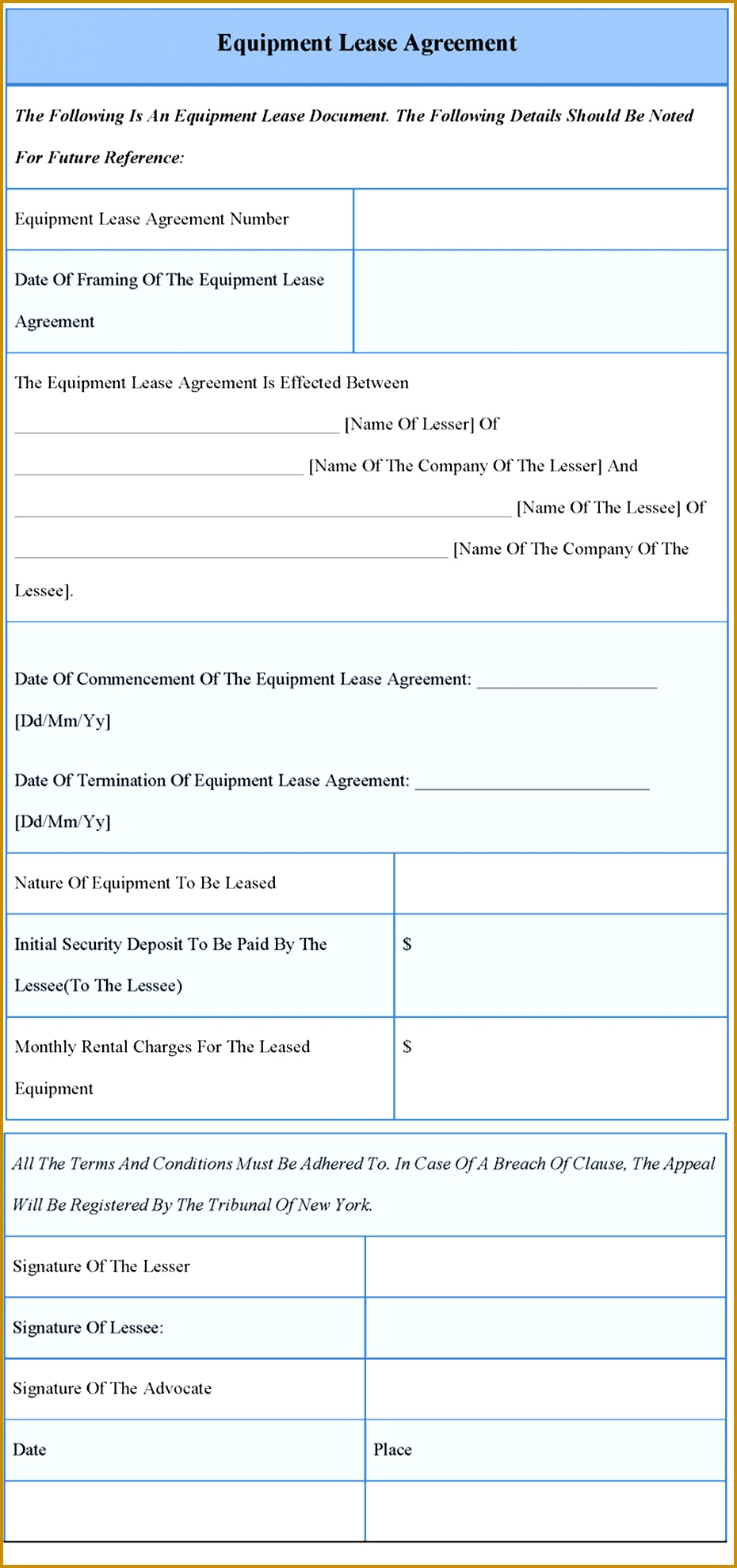 equipment lease agreement template 1979930