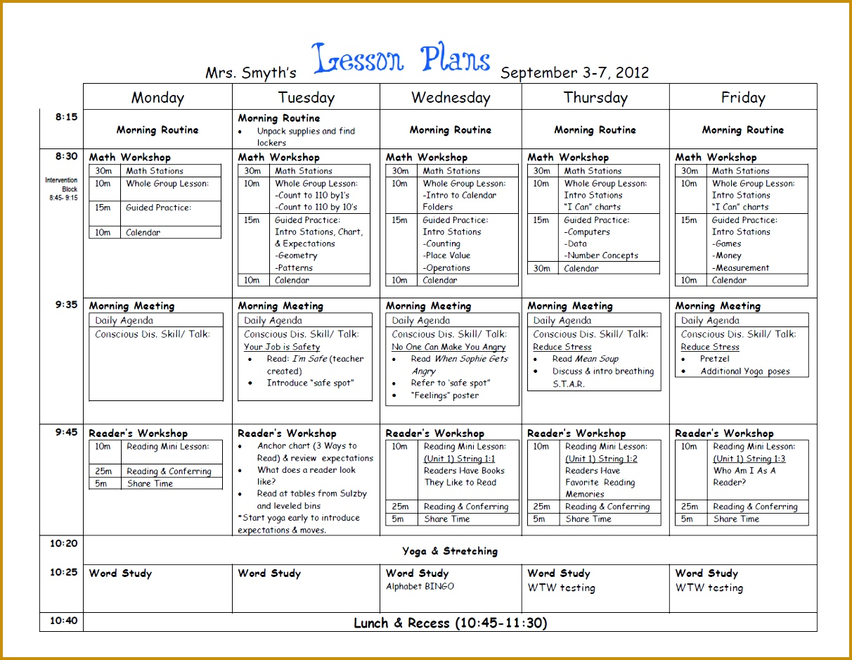 weekly lesson plan template 9381212