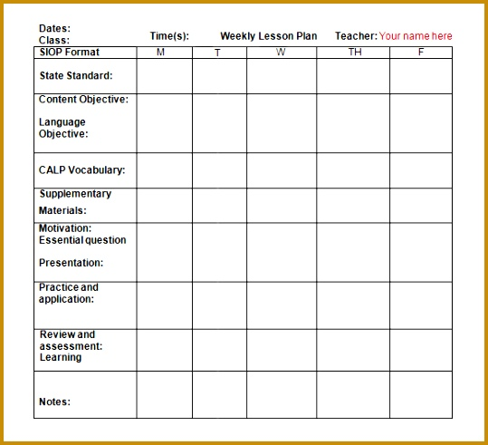 weekly lesson plan template doc 491539