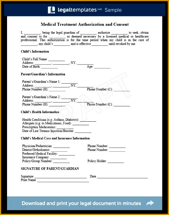 Child Medical Consent Form Sample For more information on the Child Medical form and how 730576