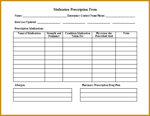 Medication prescription form template 496385