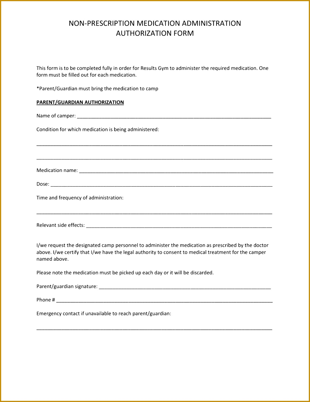 Non prescription medication administration authorization form by Courtney Connors issuu 13911075