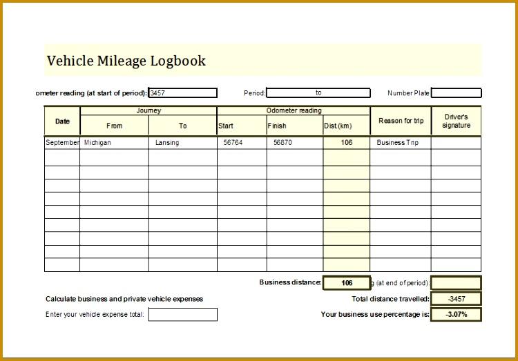 Vehicle Mileage Log Book 523750