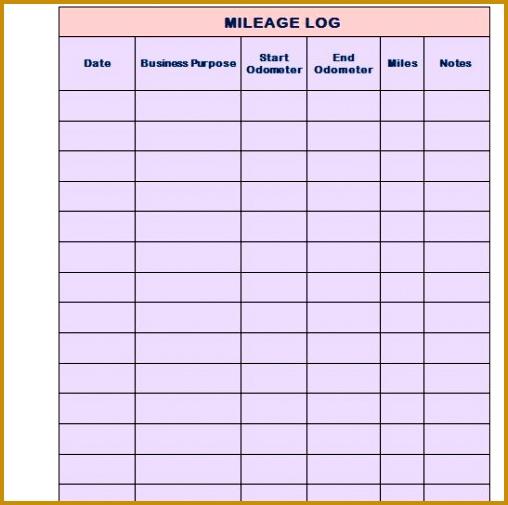 Printable Mileage Log Template 01 505508