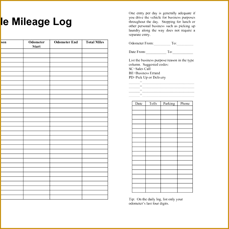 6 Vehicle Mileage Log 952952