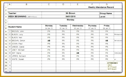 Weekly Attendance Sheet Template in MS Excel format 271442