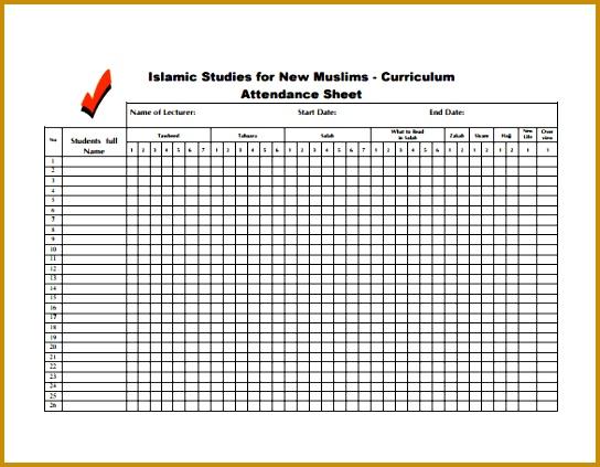 Student Attendance Sheet Free PDF Template Download 423544