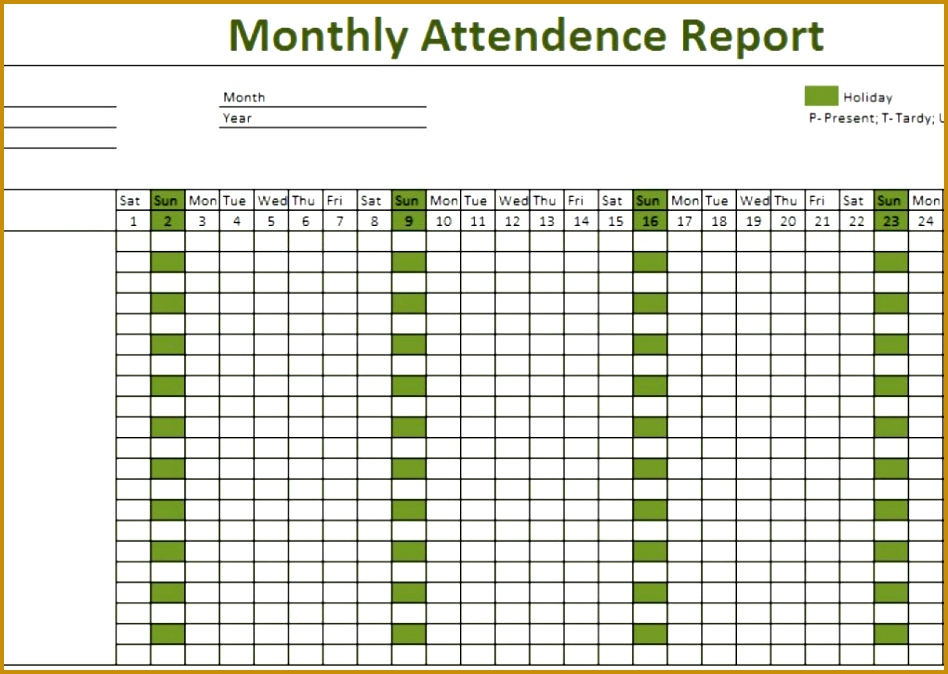 Attendance Sheet for Employees Excel 2017 674948