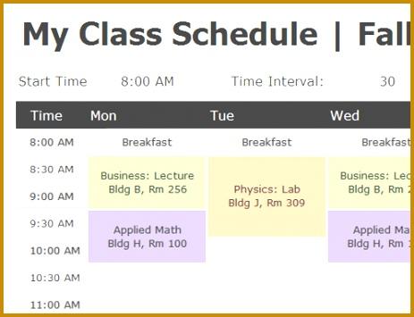 class schedule excel 355463