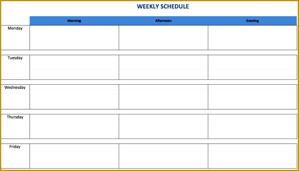 1 WeeklyScheduleTemplateExcel EN In a weekly Excel schedule template 5801013
